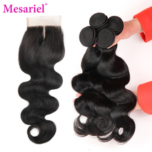 Mesariel Brazilian Body Wave With Closure 3 Bundles Body Wave Human Hair Weave With Lace Closure Non-remy Hair Middle Part(China)