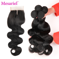 Mesariel Brazilian Body Wave With Closure 3 Bundles Body Wave Human Hair Weave With Lace Closure