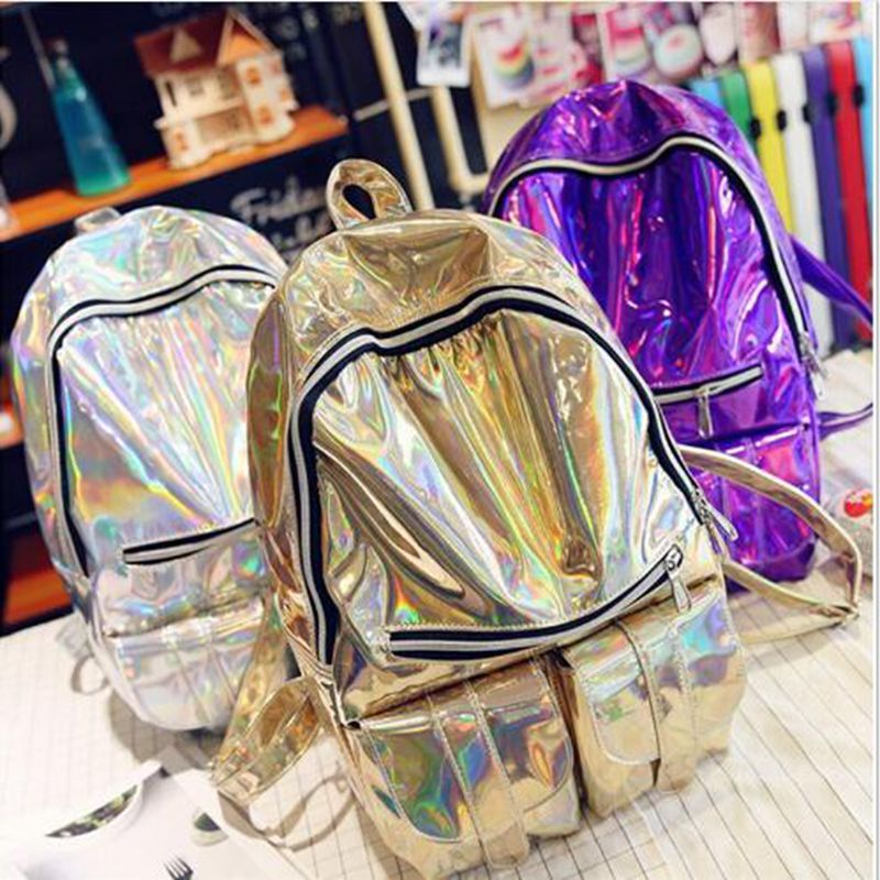 ФОТО Harajuku 3D holographic CD package backpack shoulder bag dead fly Symphony Department Mrs. empty female shiny bag backpack tide