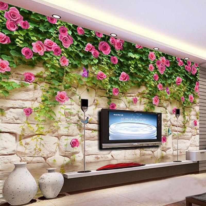 Photo Wallpaper Modern Simple Pastoral Flowers Brick Wall ...