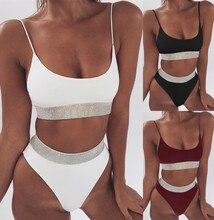Women Bikini Push Up Bordered High Waist White Black