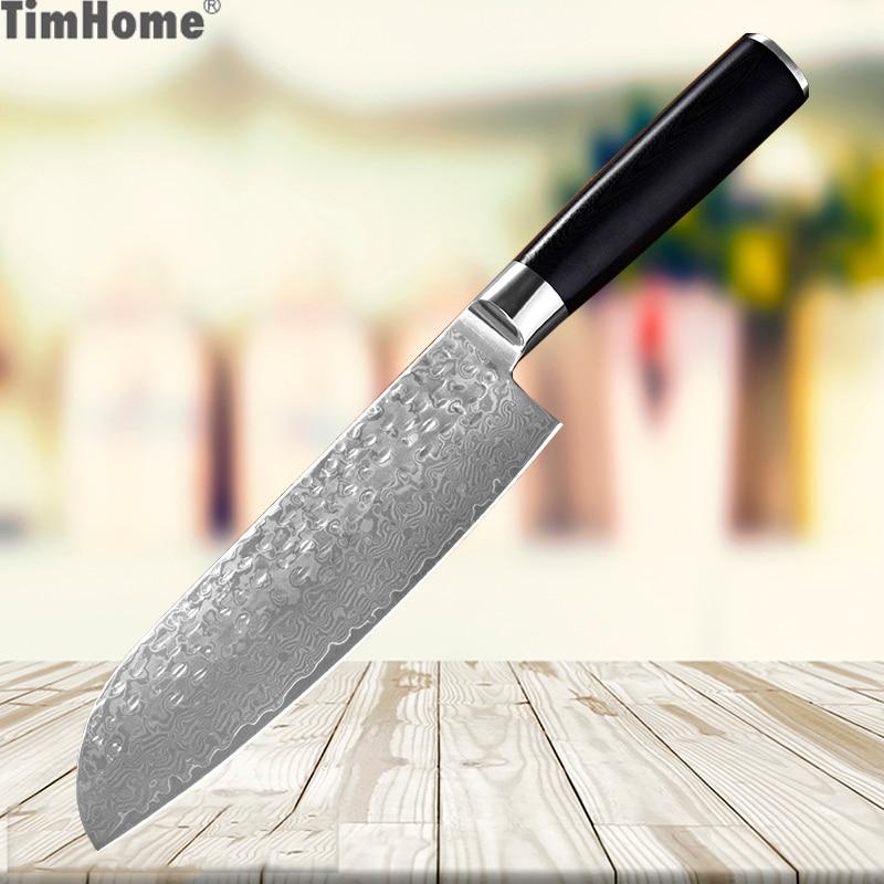Timhome couteau damas 7 pouces couteau Santoku professionnel 67 couches couteaux de cuisine en acier damas avec manche en bois