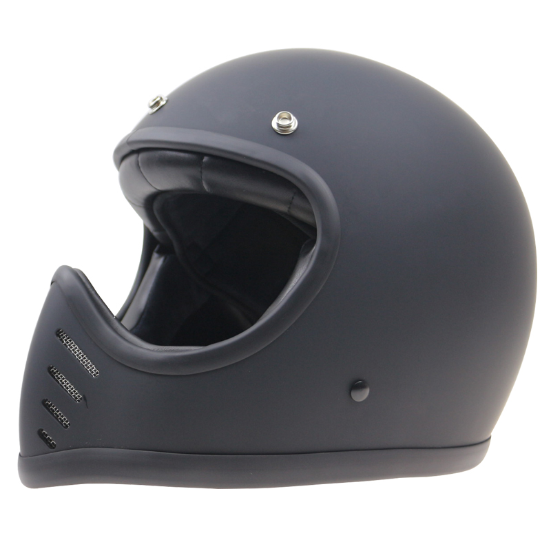 Cafe Racer Bicicleta capacete de Alta qualidade Capacete Retro 3 Pin Fivela do capacete da motocicleta Mat preto branco e preto brilhante disponível