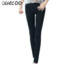 QUECOO M-XXL 2017 spring new women's leggings casual pencil pants Ms. wild white black pants