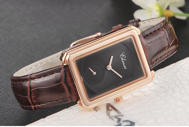 CHENXI New Female Leather Strap Square Independent Seconds Hand Simple Dial Watches Lady Watch Women Student Quartz Wristwatch