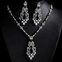 Heißer Verkauf CZ Rhodium Farbe Mode Top-qualität Hochzeit Schmuck Sets, neue Design Braut Ohrringe Halskette Sets für Frauen S004