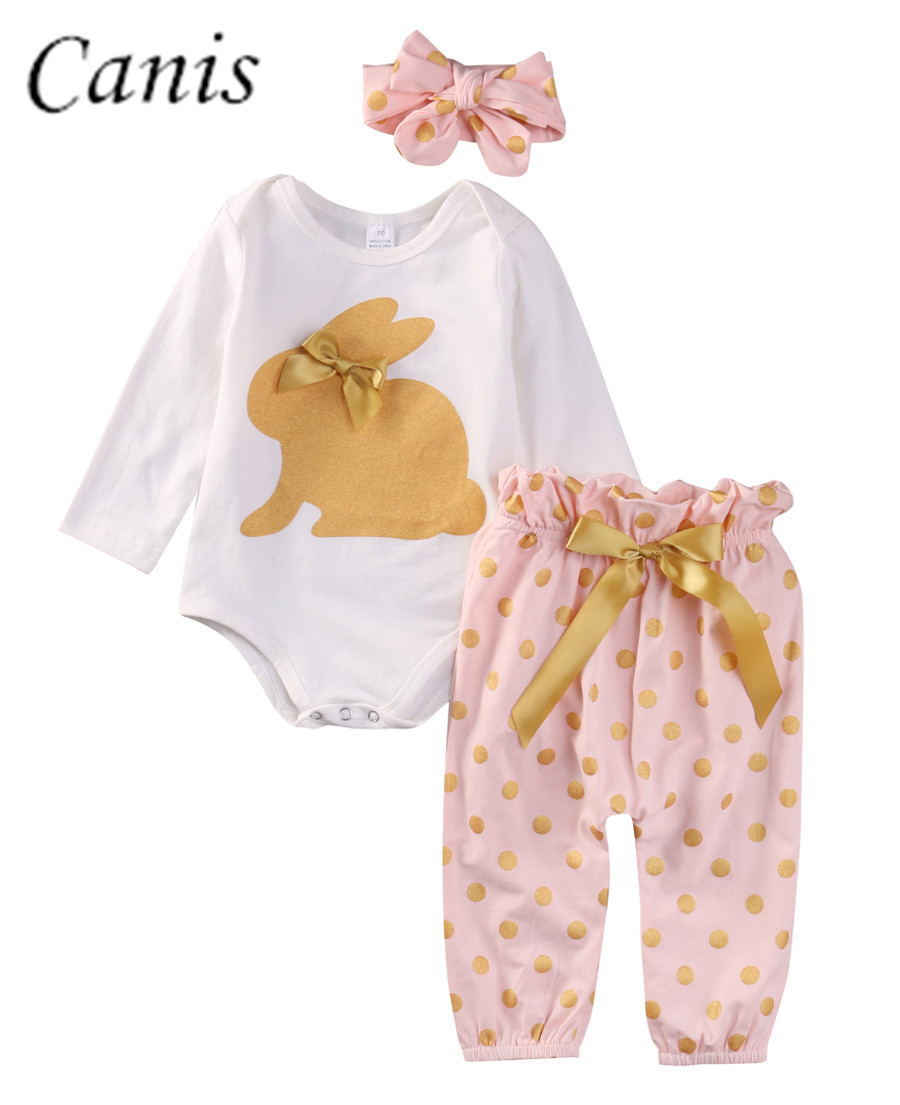 Cute Newborn Infant Baby Girls Clothes GOLD RABBIT Long Sleeve   Romper   Tops Playsuit Sunsuit Pants Outfit Set 2pcs 0-18M