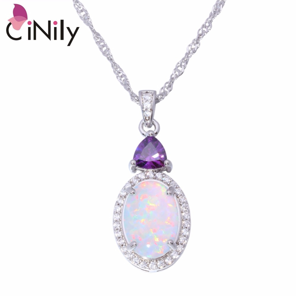 CiNily White Fire Opal Stone Necklace Silver Plated Chain Pink Purple Zircon Crystal Filled Pendant Charm Summer Jewelry Female