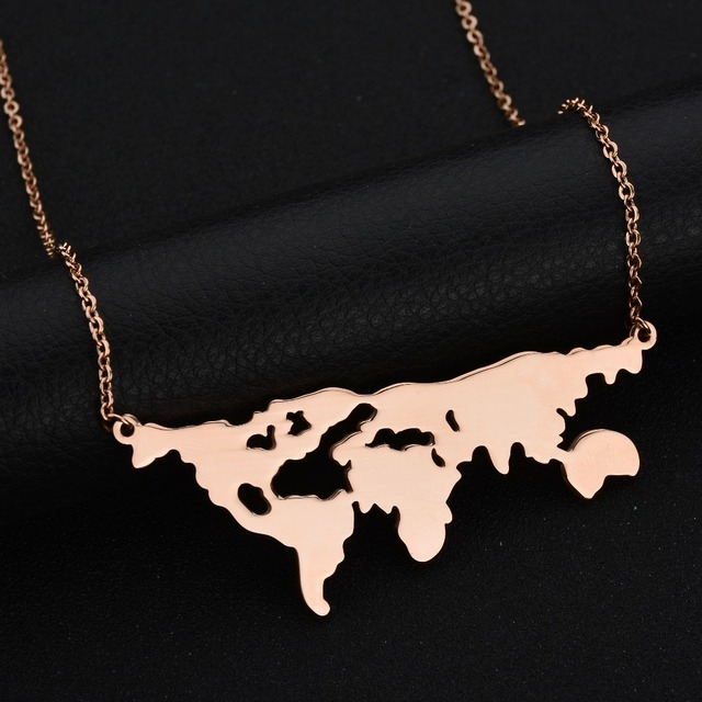 New design famous world map necklace earth day gift globe necklace new design famous world map necklace earth day gift globe necklace for women 316l stainless steel gumiabroncs Image collections