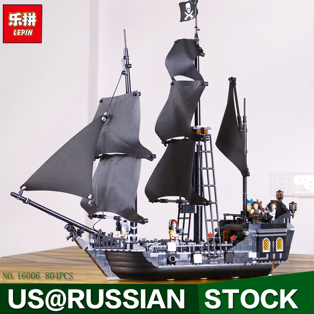 804pcs New LEPIN 16006 Pirates of the Caribbean The Black Pearl Building Blocks Set Compatible 4184 children Gift kazi 1184pcs pirates of the caribbean black general black pearl ship model building blocks toys compatible with lepin