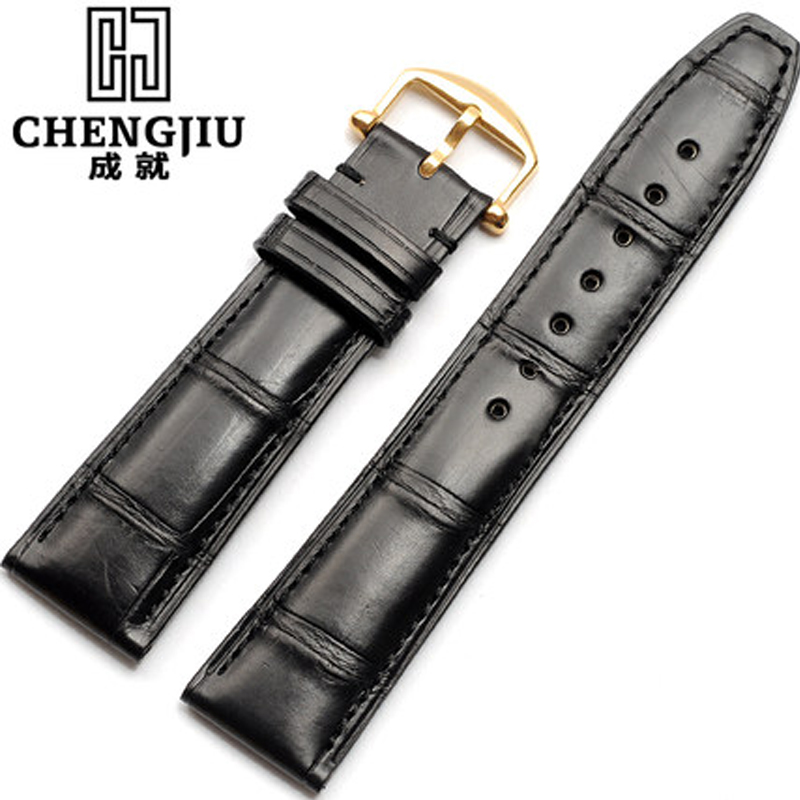 лучшая цена 20 21mm Crocodile Leather Strap For IWC Bamboo Alligator Genuine Leather Wrist Watchband Portuguese Pilot Male Watch Band