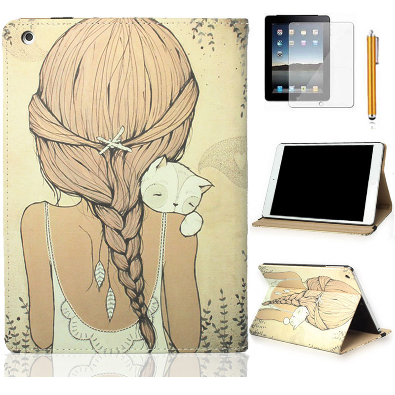 Cat Girl PU Leather For Apple New iPad 4 4th Gen 3 3rd 2 Magnetic Print Smart Cover case For ipad 2/3/4 Funda Shell Skin folding leather stand case for new ipad 2nd 3rd 4th gen brown