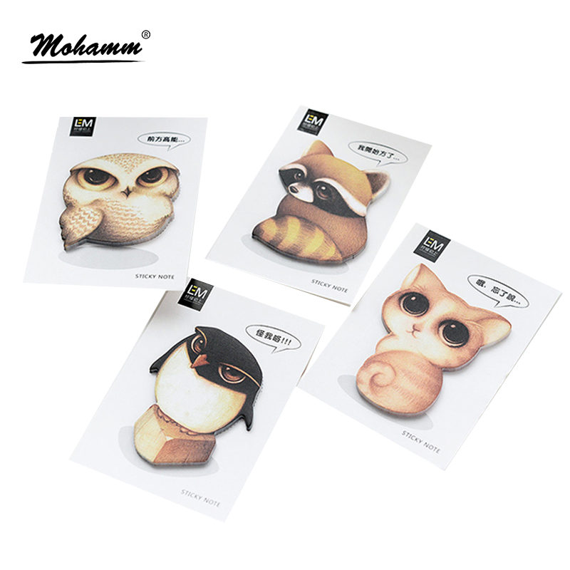 Cute Kawaii Creative Animals Self-adhesive Planner Sticker Sticky Notes Post It Memo Pad Office School Supply Stationery