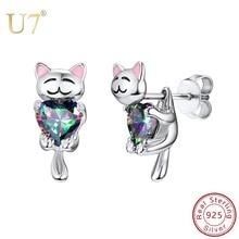 купить 925 Sterling Silver Fashion Animal Cute Dog/Cat Stud Earrings Korean Style Kitten Earring for Women Lady Bijoux Jewelry SC283 по цене 989.28 рублей