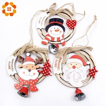 1PCS Round Wooden with Bell DIY Creative Christmas Pendants Decoration Wood Crafts Ornaments Party Home Decor Supplies