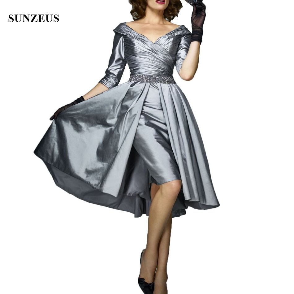Gray Mother Of The Bride Dresses 2020 Sheath Knee Length V-neck Women Wedding Party Dress With Half Sleeves Formal  Gown CM0103