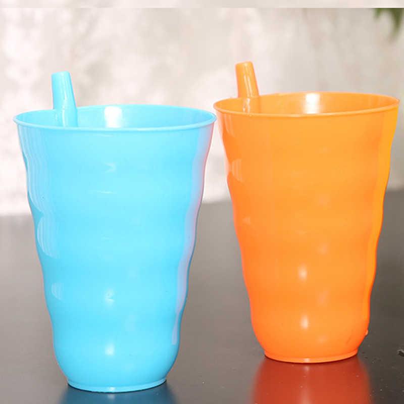 Kids Kinderen Baby baby Sip Cup met ingebouwde Stro Mok Drink Thuis Cup Oranje/Blauw/Groen/ hot Pink