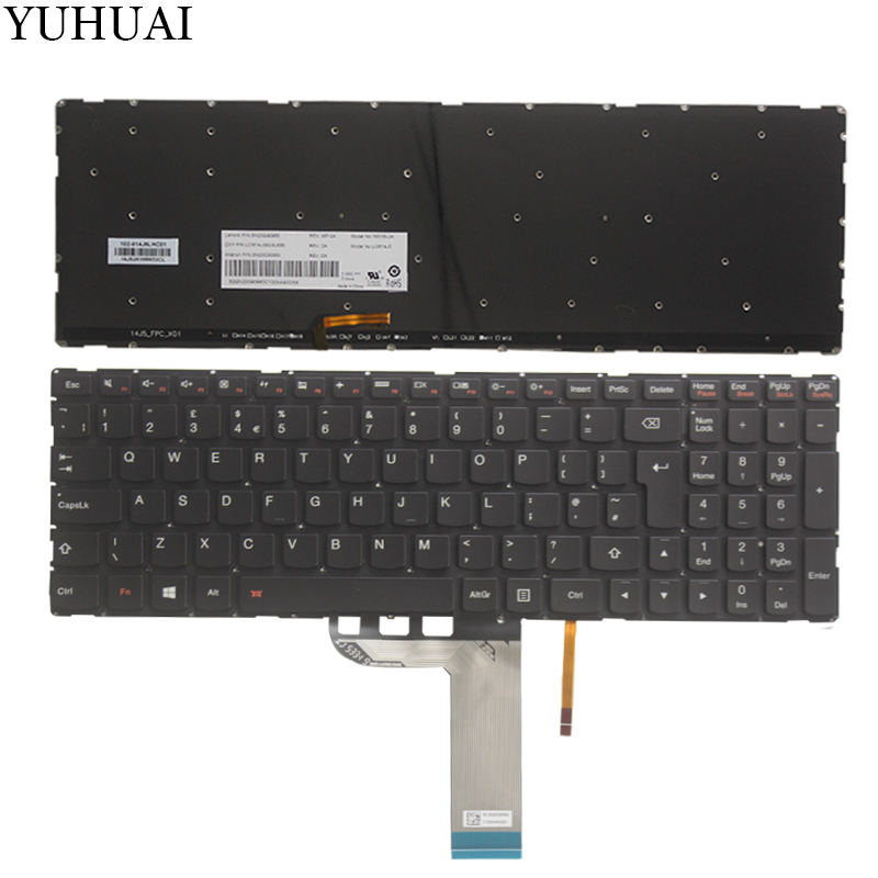 New UK keyboard For Lenovo YOGA 500 yoga500-15 500-15IBD UK keyboard Backlit no frame resistance study in tomato