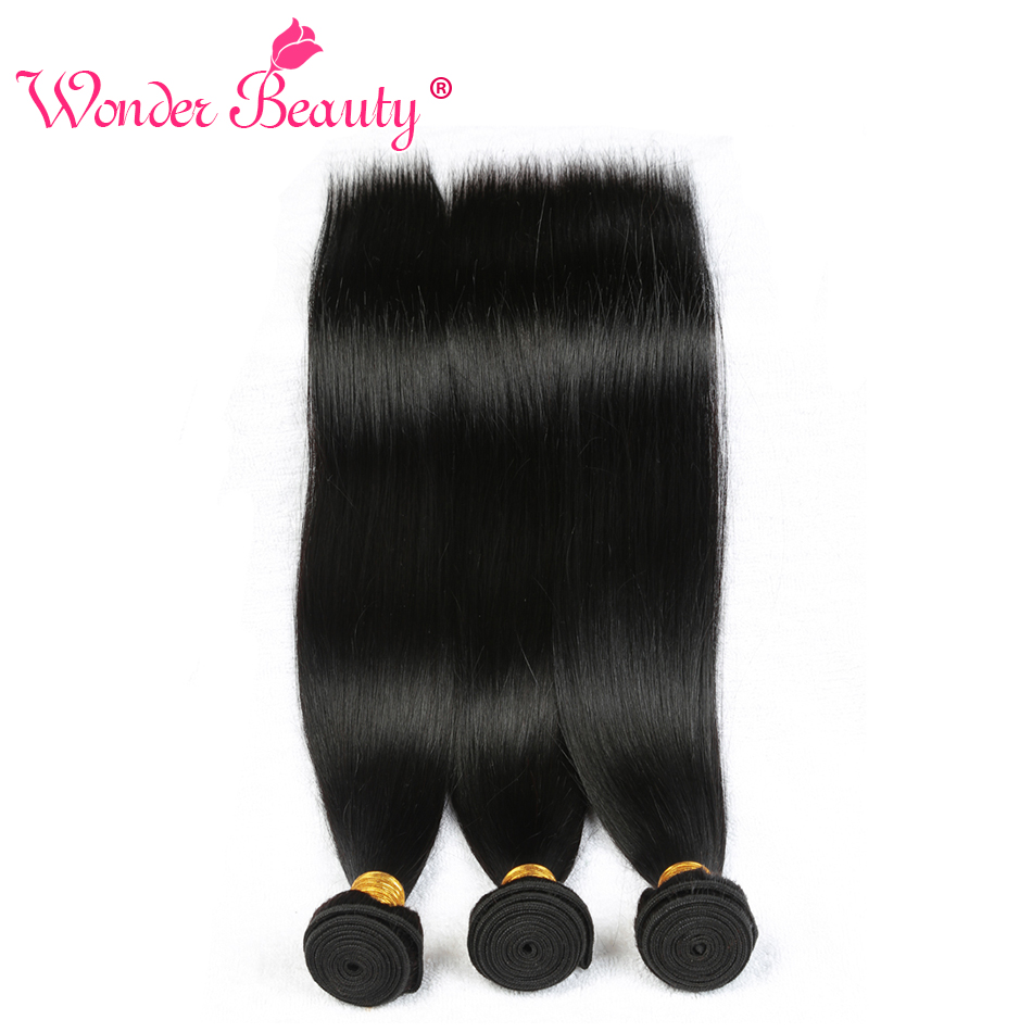 Wonder Beauty Peruvian Straight 100 Human Hair Nonremy Weave 3 Bundles Deal Natural Black Hair Extensions