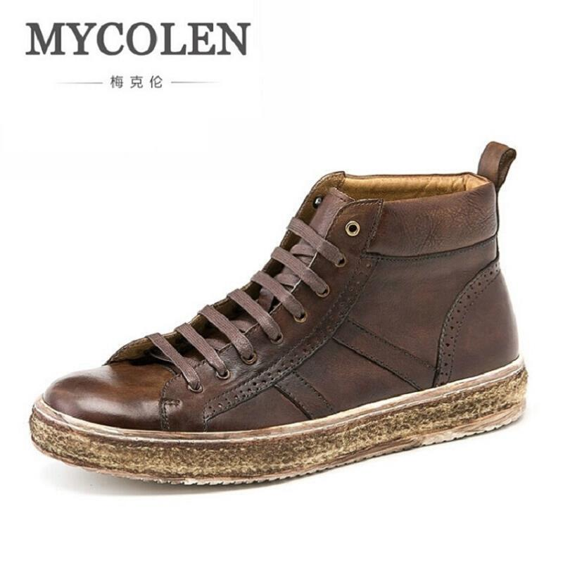 MYCOLEN Boots Men Brand Retro Style Leather Casual Shoes Men New 2017 Winter Boots Tactical Boots Fashion Work Boots botte 2017 new autumn winter british retro men shoes zipper leather breathable sneaker fashion boots men casual shoes handmade