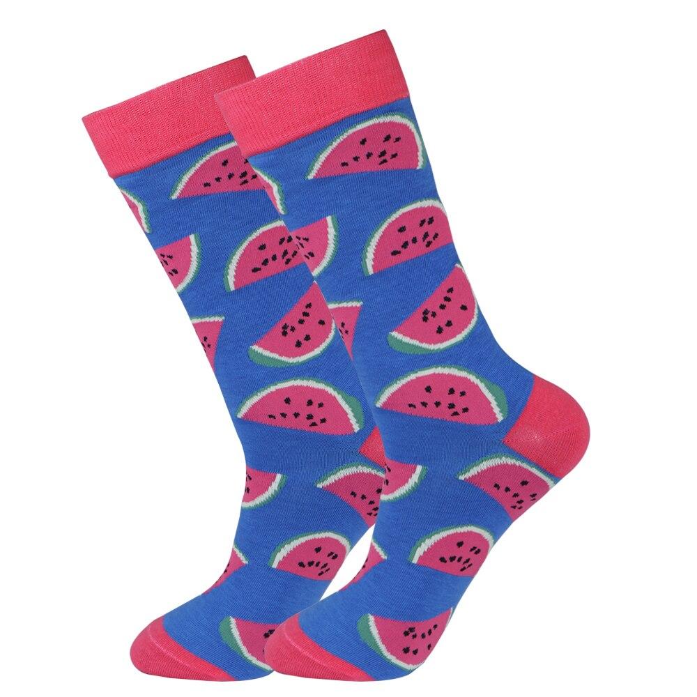 Happy Mens Watermelon Fruit Long Socks Summer Men Big Size Funny Colorful Fruits Dress Sock