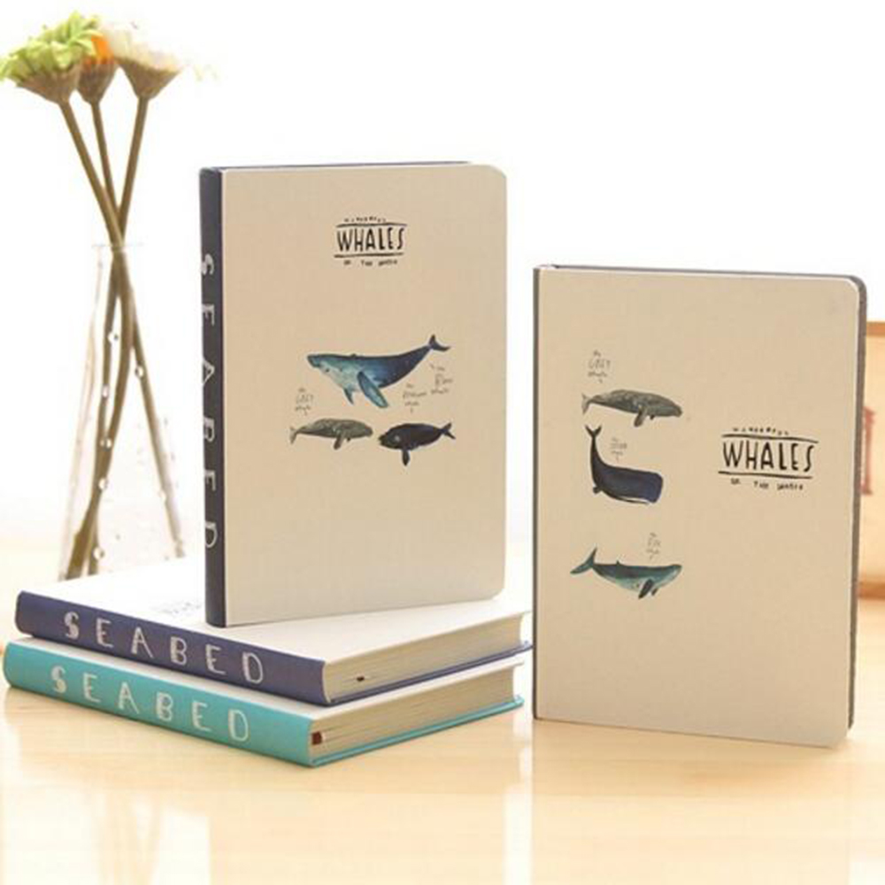 cartoon whale series hardcover notebook colored blank multi functional inner pages planner school student daily