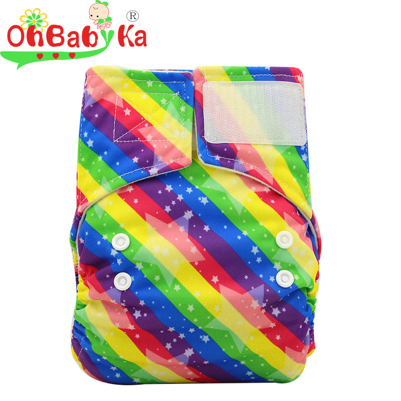 Ohbabyka Diaper Cloth Baby Cover Waterproof Printed PUL Design Reusable Baby Diapers with Snap or Hook&Loop Cloth Diaper Cover
