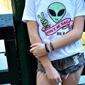 2017 Moda de Nueva Marca Sexy Blusa Entallada Camiseta de Las Mujeres Bts Femme ET extranjero Imprimir Túnica Camiseta Jumper Tops Tee Shirts Camisetas Mujer