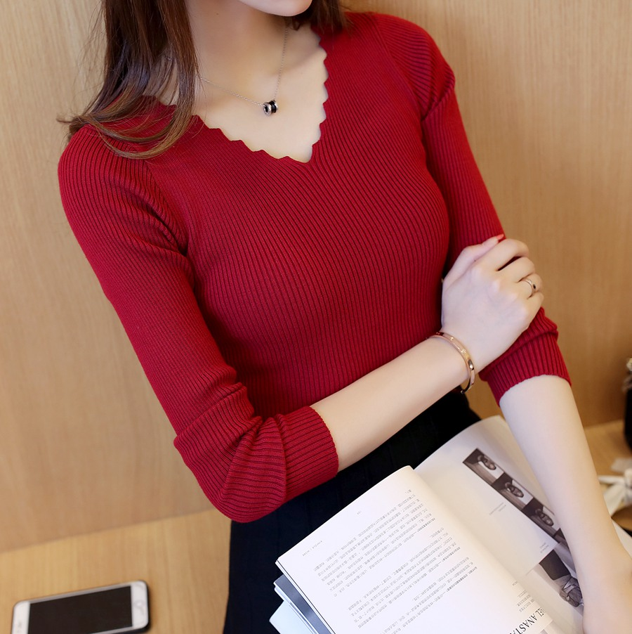 Autumn And Winter Women's Wear 2019 New Baseboard Long Sleeve Knitted Shirt V-collar Elasticity Short Slim Black Sweater