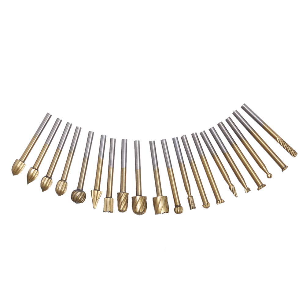 20pcs/set HSS Titanium Coating Routing Router Grinding Bit Burr Speed Kit For Dremel Wood Rotary Milling Cutter Tool Set new 6pcs tungsten rotary burr set routing router bit mill cutter rotary tool e2shopping clh