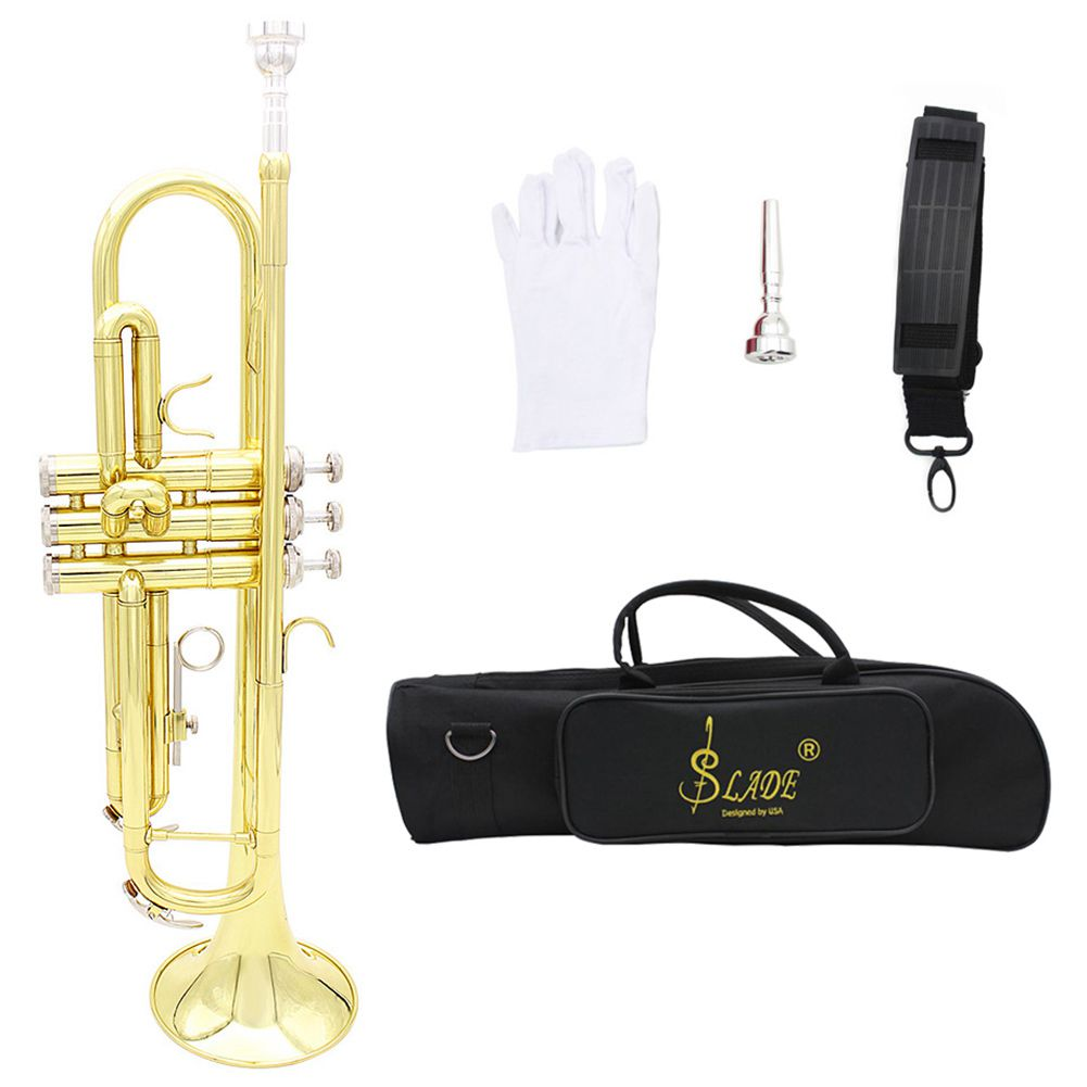 SEWS-SLADE Trumpet Bb B Flat Durable Brass Trumpet with a Silver-plated Mouthpiece a Pair of Gloves and Exquisite Gig Bag цена