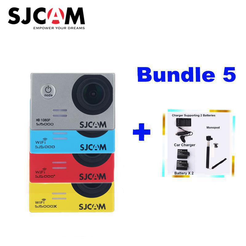 SJCAM SJ5000X SJ5000 Plus Sj5000 Wifi Sj5000 Waterproof Sports Action Camera Sj Cam DV+2Battery+Dual Charger+Car Charger+Monopod
