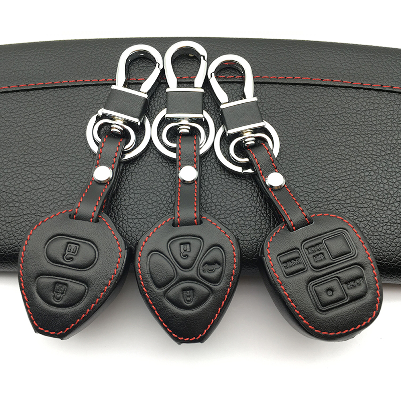 все цены на Genuine Leather Men & Women's Key Holder Key Chain Car Key Case Cover For Toyota Tarago RAV4 Corolla Camry Celica Avalon 3 key онлайн