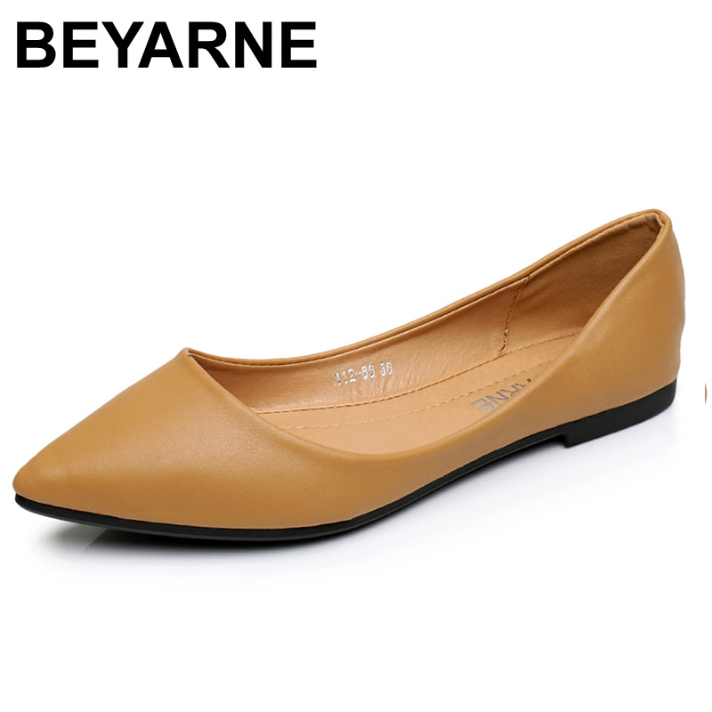 BEYARNENew Women Flats Shoes Leather Platform 1cm Heels Shoe White Women Pointed Toe Leather Girl Shoes pu pointed toe flats with eyelet strap