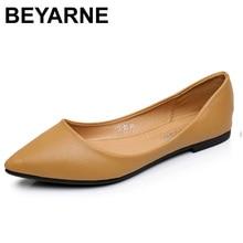 Beyarnenew Женская обувь на плоской подошве кожа Платформа 1 см Каблучки Белая обувь женская обувь с острым носком кожа девушки Обувь