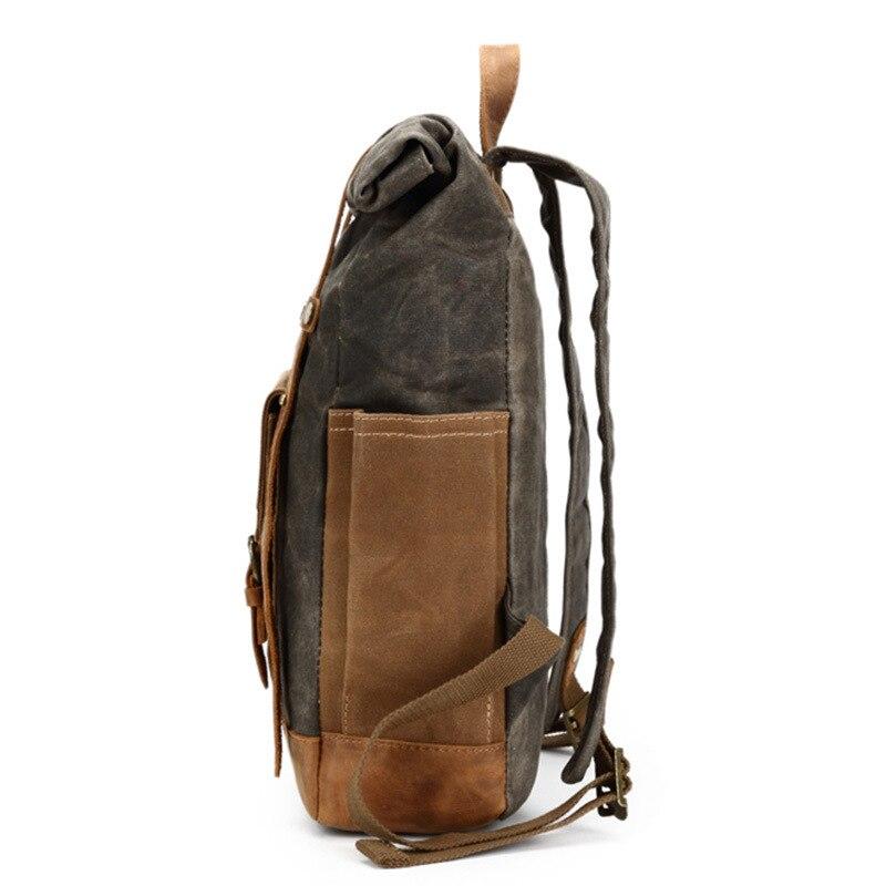 Decrji 캐주얼 크레이지 호스 가죽 남성 배낭 여행 가방 빈티지 캔버스 bagpack 노트북 배낭 남성 대형 공간 학교 가방-에서백팩부터 수화물 & 가방 의  그룹 2