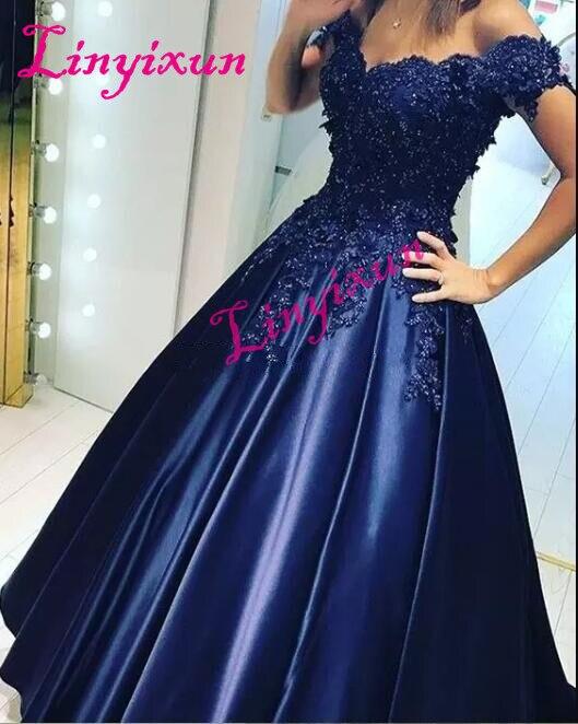 Linyixun Vestido de festa Sexy Off The Shoulder Lace A line   Prom     Dresses   2018 abendkleider Modern Evening Party   Dress