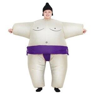 Image 5 - بدلة سومو للبالغين قابلة للنفخ من JYZCOS أزياء مصارع ملابس رجل دهون بدلة سومو ملونة للركض ملابس ماراثون تأثيري للهالوين