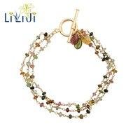 LiiJi уникальных крошечных Multi Цвет натуральный турмалины 925 пробы серебро OT застежка 3 ряда ручной работы Вязание браслет для Для женщин девоч