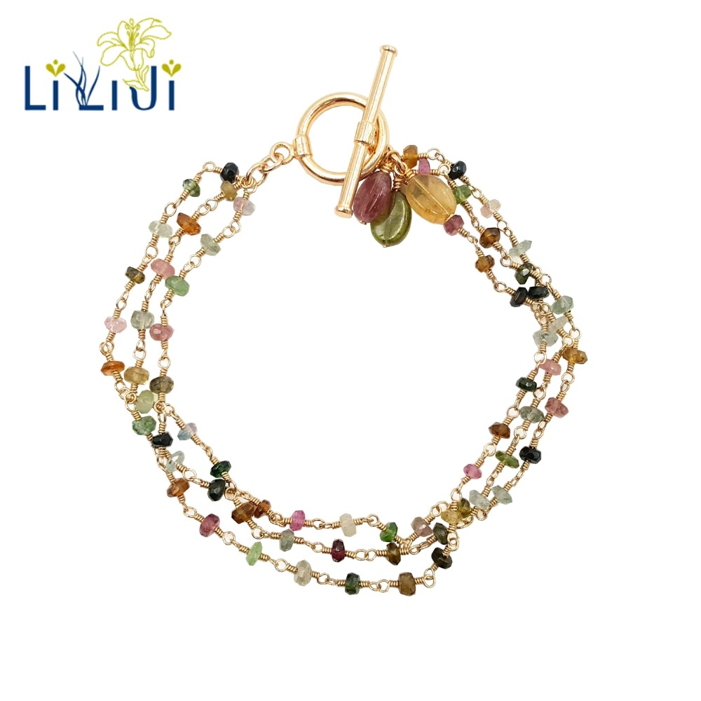 LiiJi Unique Tiny Multi Color Natural Tourmalines 925 Sterling Silver OT Clasp 3 Rows Handwork Knitting Bracelet For Women Girls цена