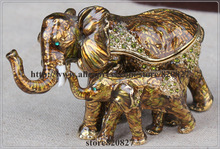 Купить с кэшбэком Decorated elephant box elephant mother & baby trinket box vintage elephant animal design jewelry organizer