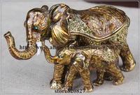 Decorated elephant box elephant mother & baby trinket box vintage elephant animal design jewelry organizer