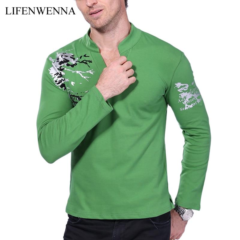 Hot Sale 2019 New Autumn Men's T-Shirt Fashion Flower Print V Neck Long Sleeve T Shirt Herretøj Trend Casual Top Tee Men 5XL
