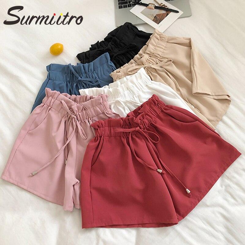 Surmiitro Solid Korean Harajuku Summer Shorts Women 2019 Fashion Loose Ladies Casual Pocket High Waist Wide Leg Shorts Female