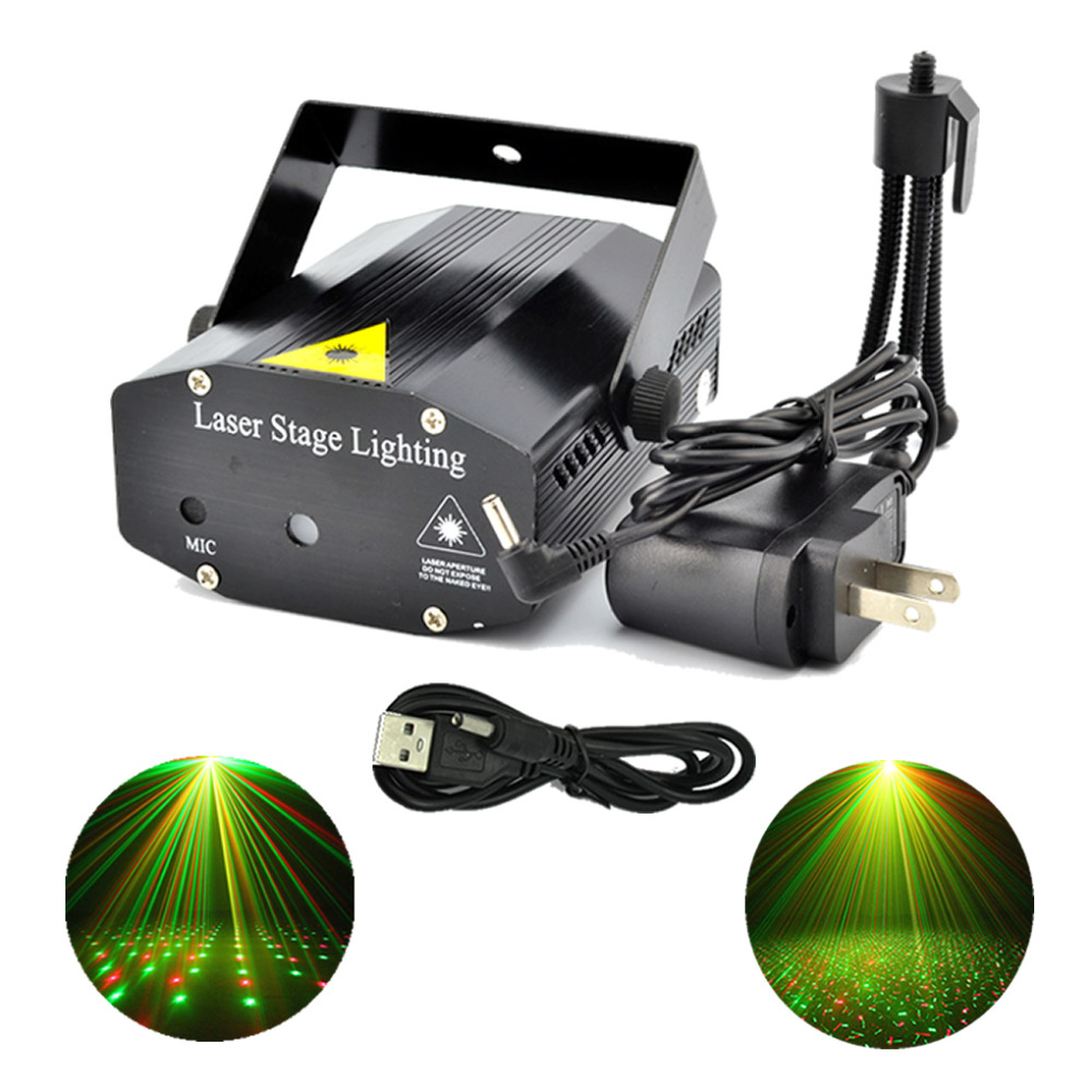 New Mini Red Green Laser LED Lights Portable USB To 3.5mm Plug Adapter Line DJ Home Party Bars Xmas Show Stage Lighting - O101-B