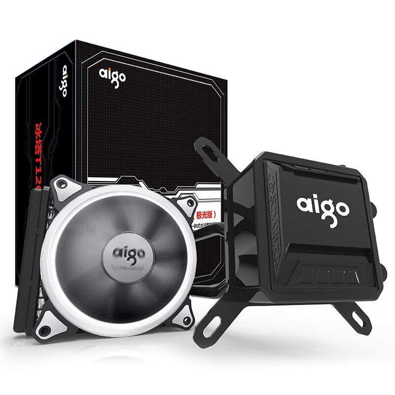 Aigo жидкости Процессор охладитель все-в-одном водяного охлаждения 120 мм ШИМ вентилятор светодио дный свет настольного компьютера дела радиа...