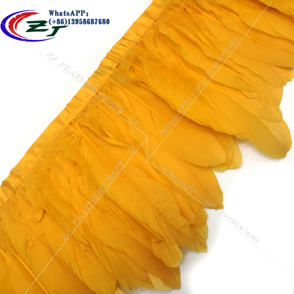 Gold Yellow Goose Feather Trims 2 Meters/lot Dyed geese feather ribbons /15-18cm Duck Feather Ribbon Fringes For Dress/Skirt DIY