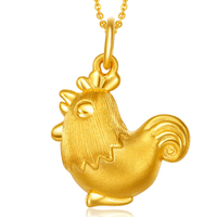 New Arrival Pure 3D 24K Yellow Gold 12 Chinese Zodiacs Chicken Women S Pendant