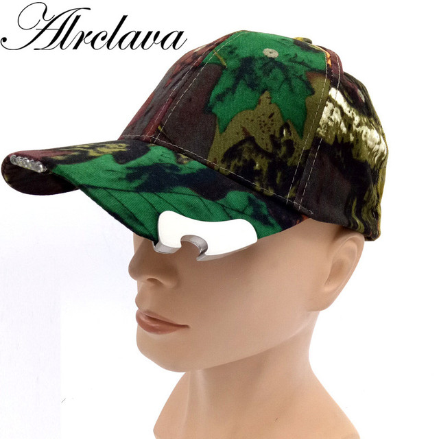 Hunting Camouflage Cap With Led light and Beer Opener Outdoor Hat Corkscrew  Novel Fishing Cap 4792df460cc