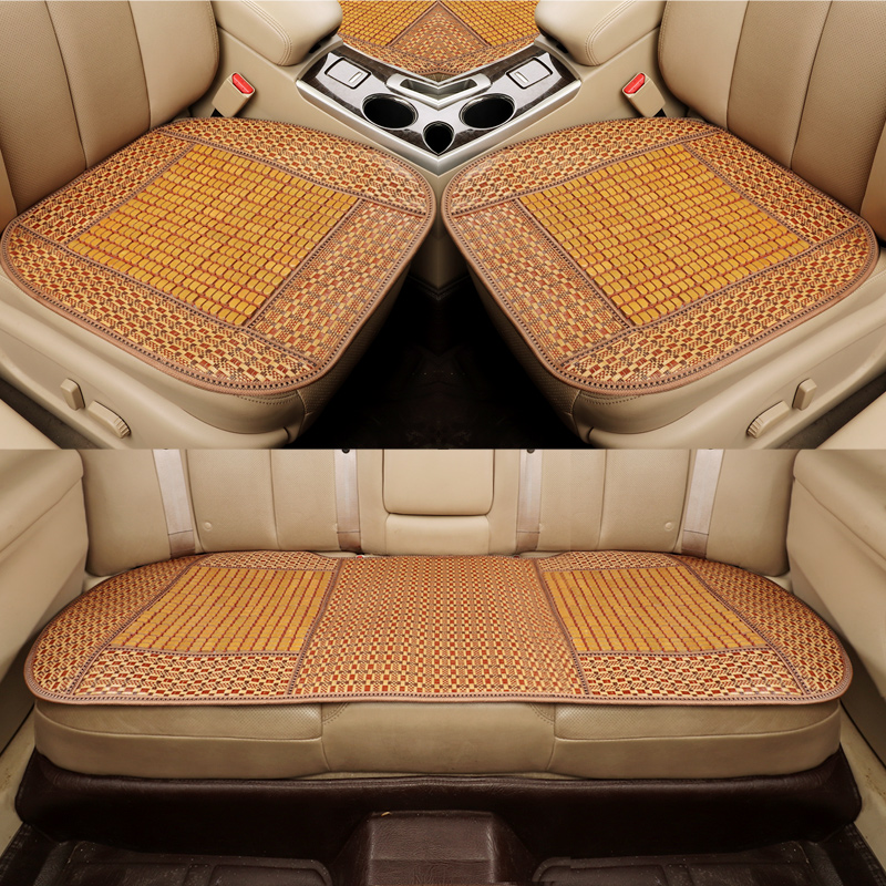 3pcs car seat cover bamboo automobile seat cushion breathable car pad mat anti slip for nissan bmw audi benz ford - 2
